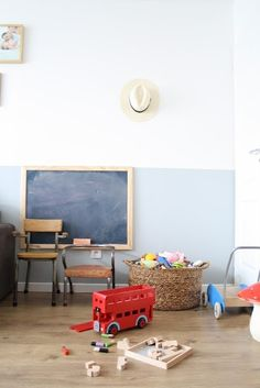 I do love a partially painted wall, big baskets, old chairs and a chalkboard! kid playroom, bus, half painted wall, blackboard, paint colours, kid rooms, halfpaint wall, chalkboard, big basket