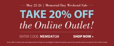 20% off PartyLite Promo code! MEMDAY20  (2014) http://www.partylite.biz/legacy/sites/nikkihendrix/productcatalog?page=productlisting.category&categoryId=55268&viewAll=true&showCrumbs=true