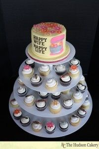 Retro Housewife Themed Bridal Shower Cake/Cupcake Tower....maybe in Aqua or Tiffany Blue & Coral or Pink Colors For My Shower :)