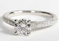 Heirloom Petite Cathedral Pavé Diamond Engagement Ring in Platinum #BlueNile