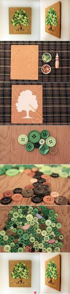 DIY Button Wall Art Could work for my money tree idea. Might mix buttons and coins. craft art, button wall, button flowers, button art, button crafts, arts and crafts for home, craft diy ideas, craft ideas, button tree