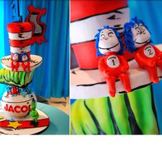 Dr. #Seuss Birthday #Cake Thing 1 and Thing 2 #party