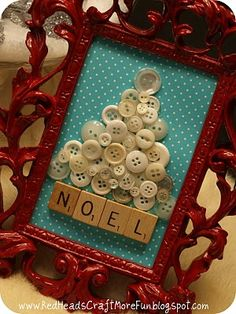 holiday, christmas crafts, vintage buttons, frame, christmas decorations, scrabble tiles, craft idea, christmas trees, scrabble letters