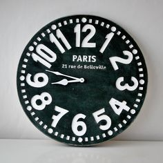 Wall clock Paris black shabby chic cottage by DesignAtelierArticle