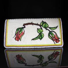 Beaded Rosebud Checkbook Cover Native American Beadwork