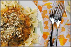 sausag pasta, pumpkin pasta, pumpkin sausag