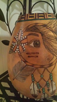 Southwestern Inspired Native American Women Dreamcatcher Gourd Art Vase by Christy Barajas