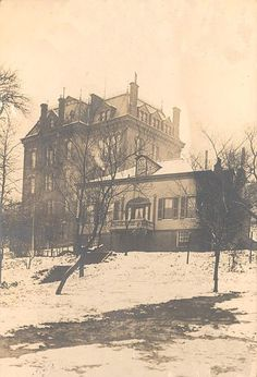 Home (r) of Charles McMicken. When he died in 1858, he gave $1 million to the city to found a university. McMicken Hall (l) was built in 1875 From 1896-1917 it was the medical college. Commuters on the adjacent trolley complained of medical students' habit of waving dismembered arms & legs out the windows at the female passengers as the trolleys passed. Next to the school was the Schoenling Brewery where the freezer was used for both cadavers and beer.