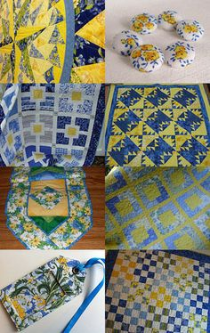 Yellow and Blue Quiltsy by Jackie on Etsy--Pinned with TreasuryPin.com