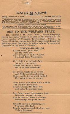 Poem from 1949 - warning about the Welfare State.