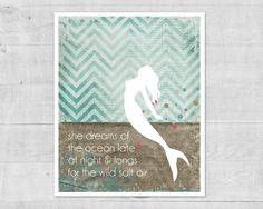 Mermaid Poster - Ocean Dreams Salt Air - Beach Inspired Digital Art Print Aqua Blue Chevron Inspirational Poster
