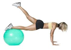 Best Exercises For Saddlebags: Plank Booty Leg Lifts!  Alternative to squats! butt and thigh exercise, best butt and thigh workout, exercise ball, workouts without legs, thigh workout without squats, best thigh workout, exercises to tone thighs, exercise for thighs saddlebags, exercise to tone legs