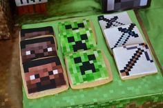 Cookies at a Minecraft Themed Birthday Full of AWESOME IDEAS Party via Kara's Party Ideas Kara'sPartyIdeas.com #Gamer #Gaming #PartyIdeas #Supplies #Minecraft #cookies