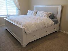 DIY king bed.  Beautiful!