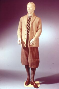 Slide No. 56     1920's  Cardigan sweater, plus-fours/oxford bags, argyle socks, wingtip shoes, club stripe tie.