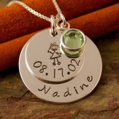 Personalized Mommy Necklace - Sterling Silver Hand Stamped Jewelry - My Child Info Name Necklace