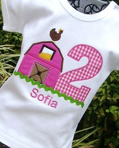 Girls Farm Birthday Barn Tee with Age by lilshabebe on Etsy, $22.95