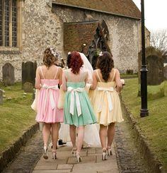 love these pastel bridesmaids dresses!!