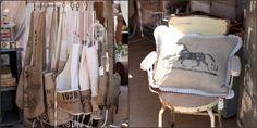A Beautiful Mess ~ grain sacks into aprons and pillows
