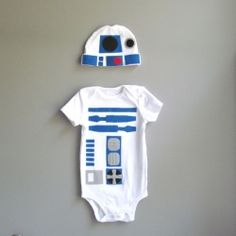 R2-D2 Onesie and Hat. this would be a cute way to tell Aaron when I get pregnant, give it to him in a box to open, he would LOVE this