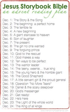 Love this advent reading plan using the fantastic Jesus Storybook Bible for kids. Print one out and read every night in December for an easy way to celebrate the season. Via Adriel Booker