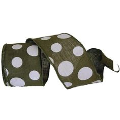 """Burlap Polka Dot Ribbon Size: 4"""" in width; 10 yards in length Material: 100% Jute Color: Sage Green, White Wire Edge"""