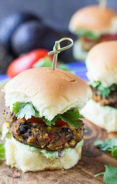 -Black Bean Sliders with Creamy Avocado Sauce #recipe #vegetarian ...