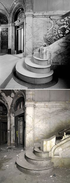 The abandoned Farwell Building, 1249 Griswold St., Detroit, Michigan: Before and after. http://en.wikipedia.org/wiki/Farwell_Building