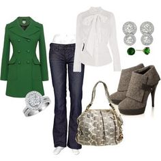 Love the green pea coat...and the whole combo too!!