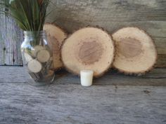 6 qty x 8 Large Hickory Wood Slices, rustic weddings, country weddings, tree slices, log slice, rustic centerpiece, slab. $32.95, via Etsy.