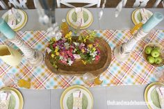 Easy spring table runner and set up by @Ashley Mills {the handmade home} made with Joel Dewberry Fabric and Braemore fabric from OnlineFabricStore.net