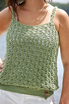 "Ravelry: The ""Lakeshore"" Women's Tank Top pattern by Jennifer Pion  #crochet #pattern #camisole"