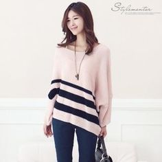 #yesstyle Stylementor  Striped Dolman-Sleeve Knit Top