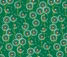 Fanciful flight - make a dandelion wish! - dark green fabric by coggon_(roz_robinson) on Spoonflower - custom fabric