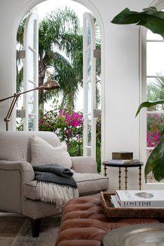 Double doors to tropical garden