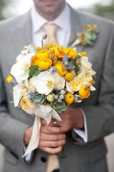 succulents, orchids, ranunculus, brunia and billy balls Beautiful #yellow #bouquet