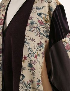Mother of Bride Jacket Ivory Burgundy Gold Japan Print Artwear Size 22/24 One-of-a-kind wearable art designed around vintage Japanese panels, including rayon satins in deep burgundy, aubergine and antique gold.  Spring and Summer special occasions call for a relaxed, contemporary style of dressed up. Our Daisy Jacket, slightly oversized and swingy, is casual elegance, easy to wear, comfy chic.