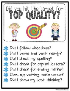 """Top Quality Target- FREEBIE! Great for our schools character traits! Instead of """"Did I check my spelling"""" how about """"Did I stretch out my words/use syllables?"""""""