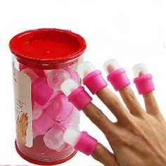 Want want want!!!!!!! Put these on your fingers, need these for getting glitter polish off. 10x-Wearable-Nail-Art-Soakers-Acrylic-Tips-Polish-Remover-Removal-Cap-Tool-Pink