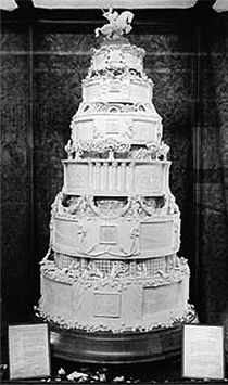 One of the cakes for Princess (Queen) Elizabeth II and Prince Philip's Wedding Cake, November 20, 1947, weighing 500 pounds.
