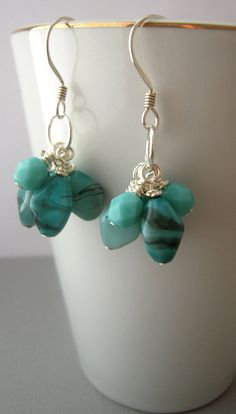 glass beaded earrings cluster earrings handmade by urbandwellers, $10.00