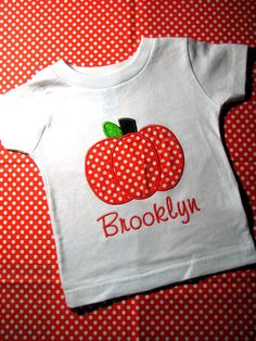 Personalized Pumpkin shirt for girls or boys great for Halloween Thanksgiving or Fall Personalized with child's name. $17.00, via Etsy.