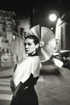 Paloma Picasso in a dress by Karl Lagerfeld, Paris, 1978.  Photo: Helmut Newton.
