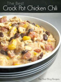 The Best Crock Pot Chicken Chili recipe ever!  Creamy & delicious with a kick!  #recipes #chili