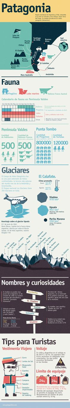 Infographic Patagonia. Infografia Patagonia.