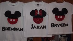 Mickey Minnie Mouse - Disney Birthday Custom T-Shirt Personalized Applique Tee Shirt Top. $16.00, via Etsy.