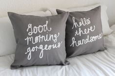 His and Hers Pillow Covers in Grey 18 x 18 inch