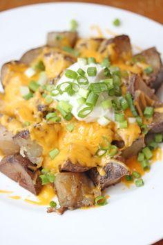 Loaded Slow Cooker Potatoes #recipe