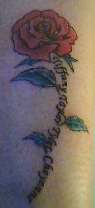 My tattoo with my kids names as the stem