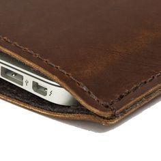 MacBook Air Leather Case / Sleeve  Dark Brown by MintCases on Etsy